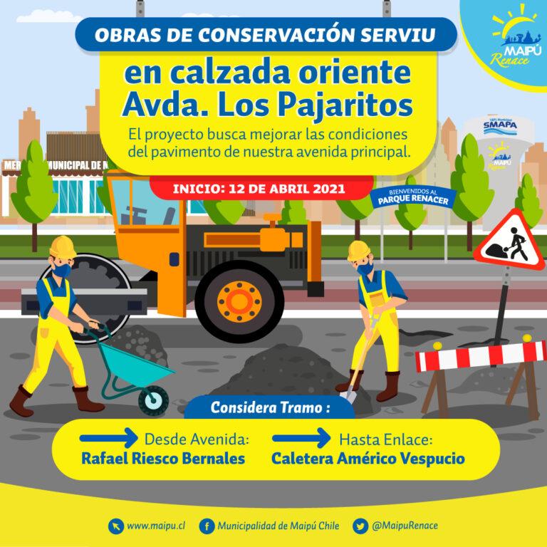 ¡Atención! El próximo lunes 12 de abril comienzan trabajos de conservación vial en Av. Pajaritos